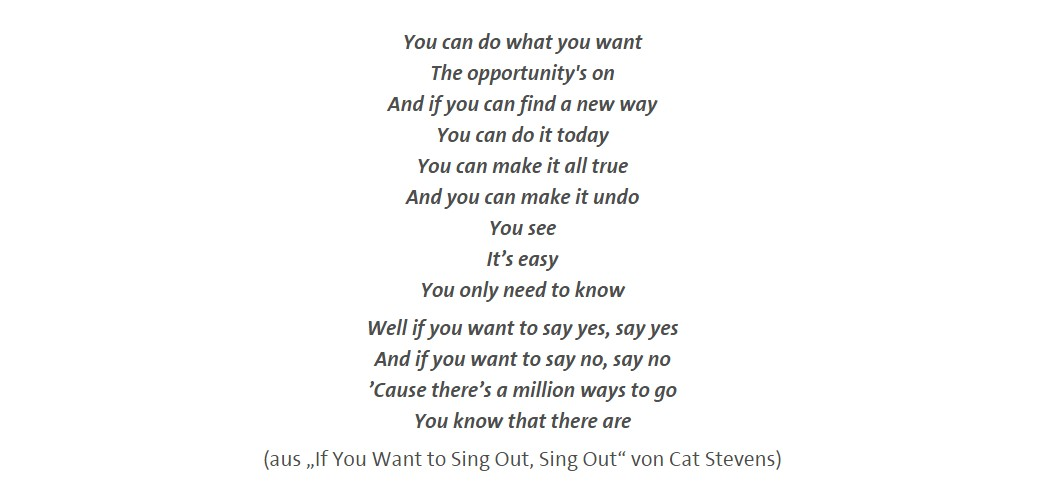 "Text aus Cat Stevens: ""If You Want to Sing Out, Sing Out"""